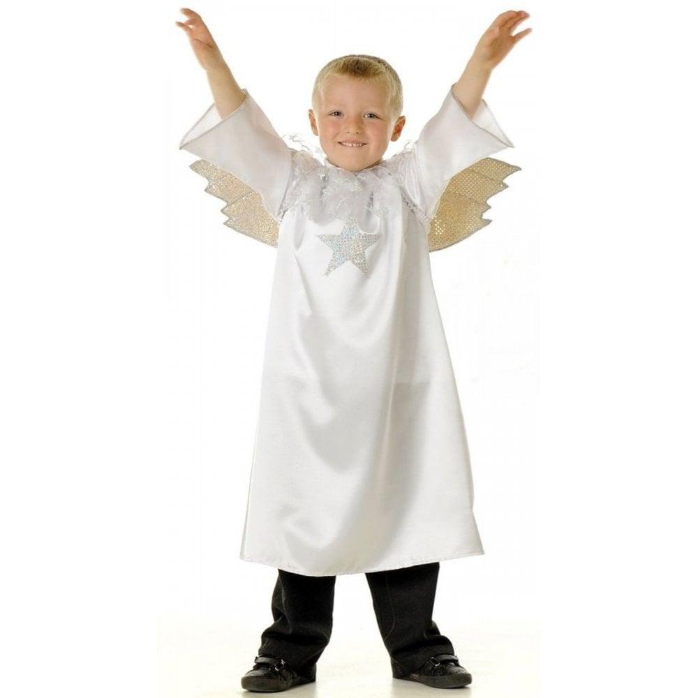 White Christmas Nativity Angel Satin Gown Childs Kids Fancy Dress Costume