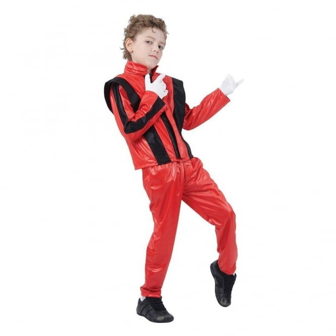 80's Superstar (Red) - Kids Costume Set (Jacket, Trousers, White Gloves)