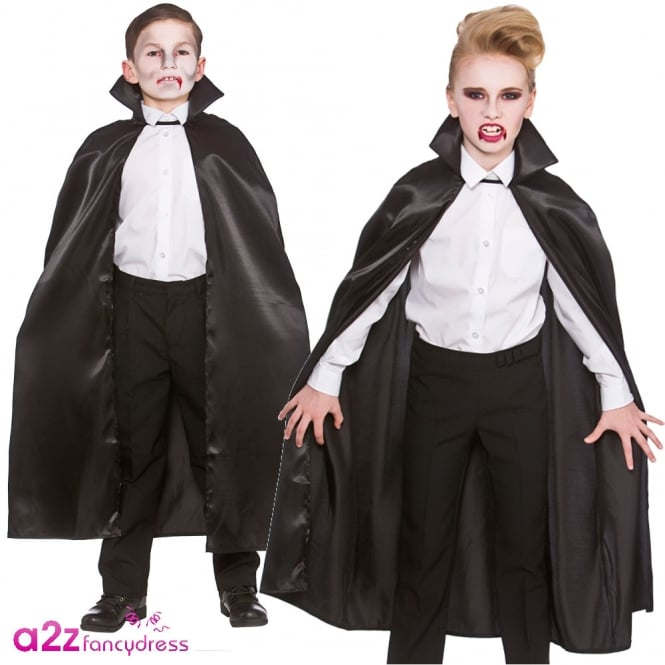 Black Deluxe Satin Cape with Collar - Kids Accessory