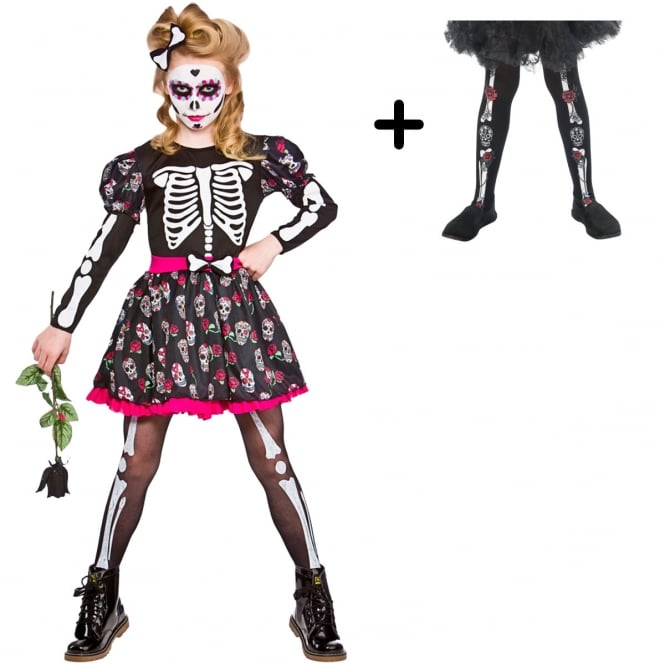 Skull Of the Dead - Kids Costume Set 1 (Costume, Day Of The Dead Tights)