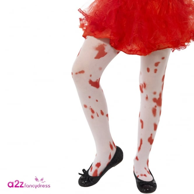 Blood Stain Print Tights - Kids Accessory 6-12 Years