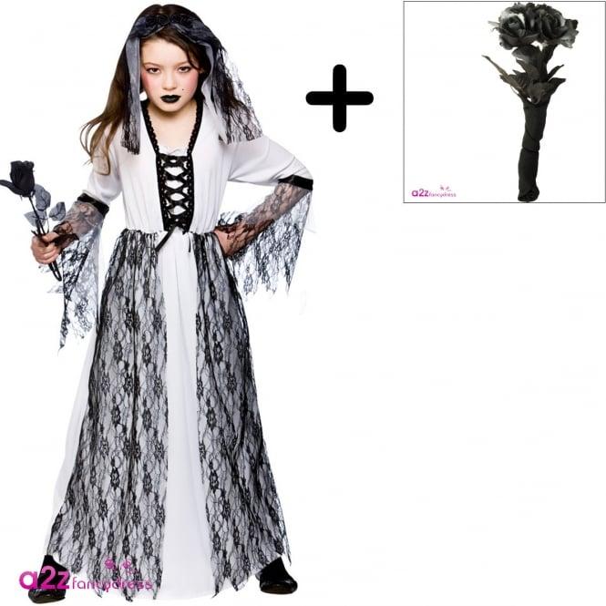 Ghastly Ghost Bride - Kids Costume Set (Dress, Headpiece, Black Rose Bouquet)