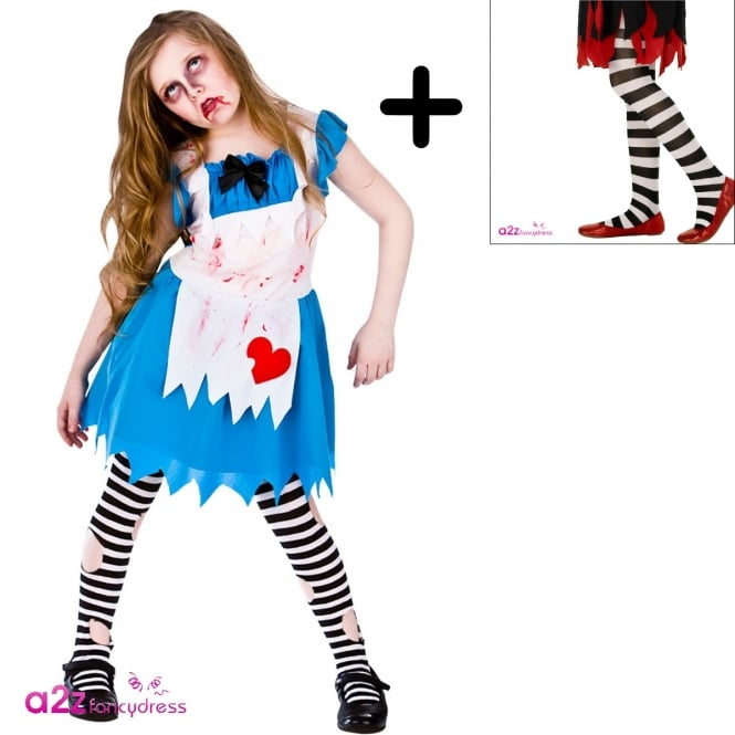 Alice In Zombieland - Kids Costume Set (Costume, Black & White Striped Tights)