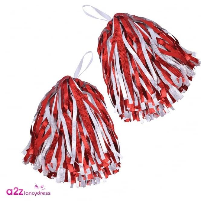 Pom Poms (Red & White) - Accessory