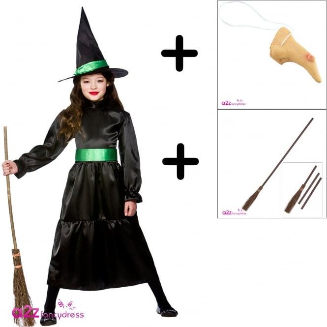 Wicked Witch - Kids Costume Set 2 (Costume, Nose, Broom)