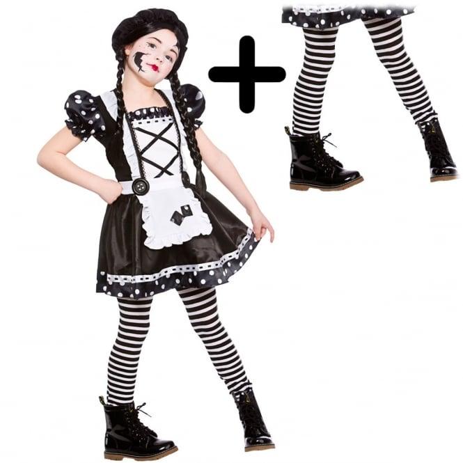 Broken Doll - Kids Costume Set (Costume, Black & White Stripe Tights)