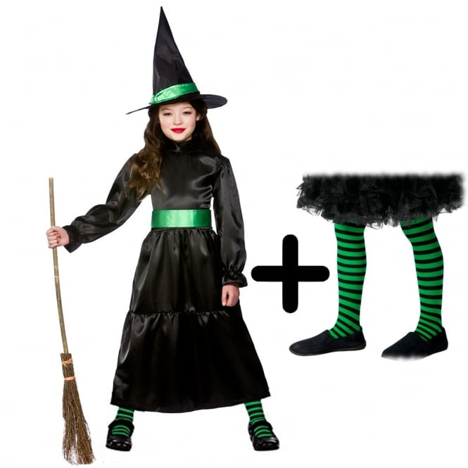 Wicked Witch - Kids Costume Set 3 (Costume, Green & Black Tights)