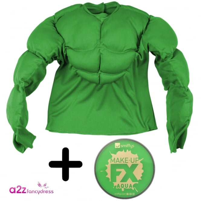Green Super Muscle Shirt - Kids Costume Set (Costume, Facepaint)