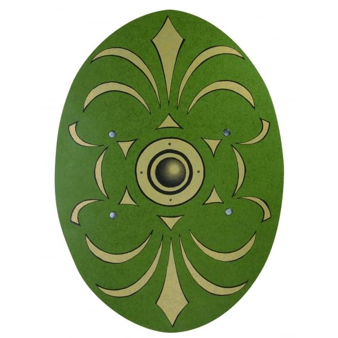 Oval Roman Wooden Shield (Green & Gold) - Accessory