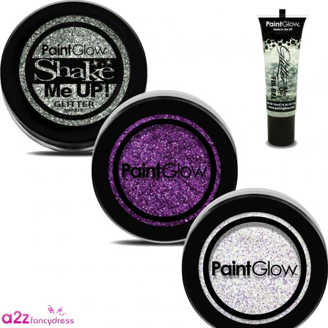 Purple, White & Silver Glitter (with Glue)