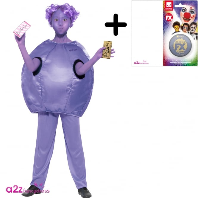 ROALD DAHL ~ Violet Beauregarde - Kids Costume Set (Costume, Purple Make-Up)