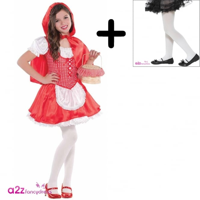 RED RIDING HOOD Little Red Riding Hood - Kids Costume Set (Costume, White Tights)