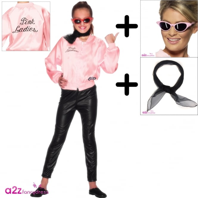 Grease Pink Ladies Jacket - Kids Costume Set (Costume, Black Scarf, Sunglasses)