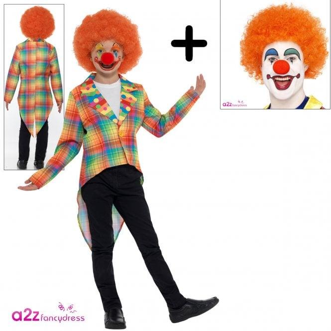 Neon Tartan Clown - Kids Costume Set (Costume, Orange Wig)