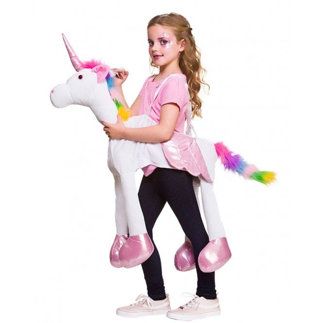 White Ride On Fantasy Rainbow Unicorn - Kids Costume