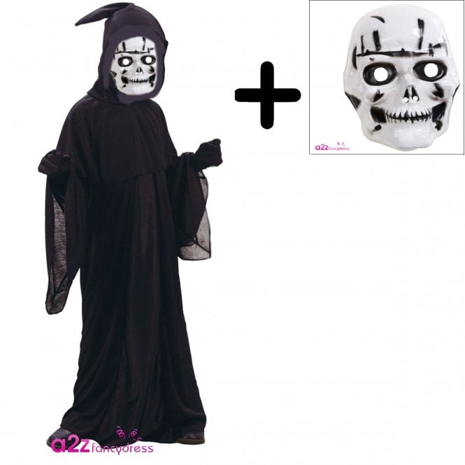 Grim Reaper - Kids Costume Set (Robe, Hood, Mask)