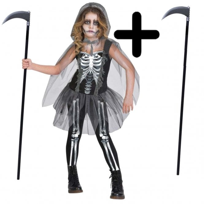 Girl Skeleton Reaper - Kids Costume Set (Costume, Scythe)