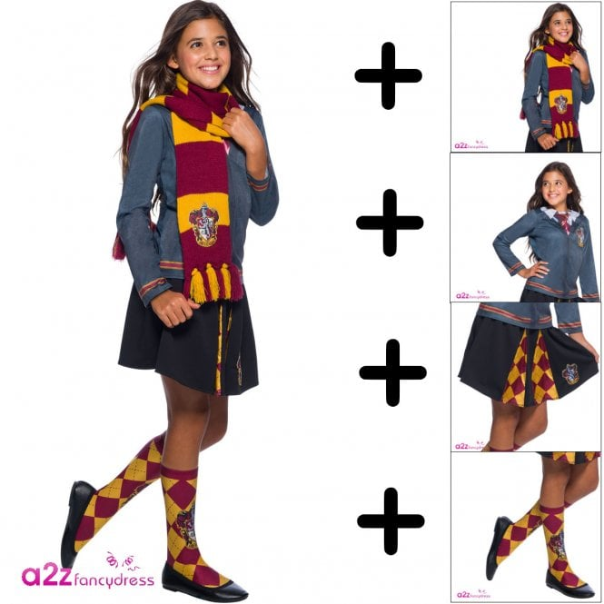 HARRY POTTER Hermione Granger Girls Gryffindor Uniform - Kids 4 Piece Costume Set (Top, Skirt, Socks, Scarf)