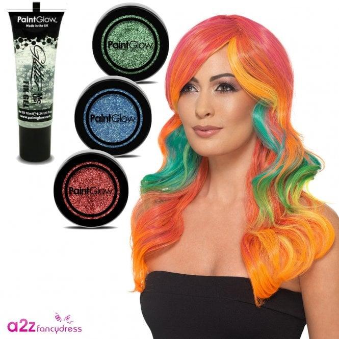 Fashion Rainbow Wig + Glitter (Multi-coloured) - Adult Accessory