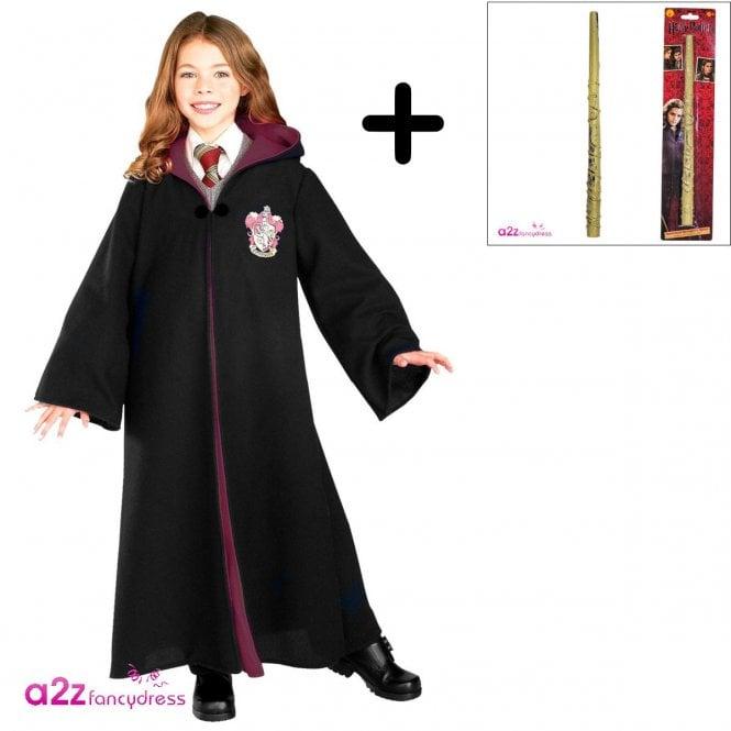 HARRY POTTER ~ Hermione Granger Deluxe Gryffindor Robe - Costume Set (Robe, Standard Hermione Wand)