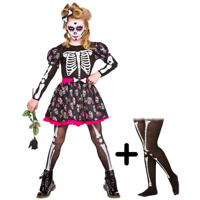 Skull Of the Dead - Kids Costume Set 3 (Costume, Skeleton Tights)