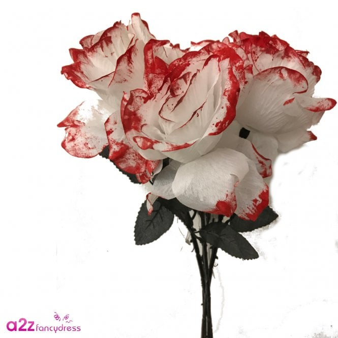 Bouquet of 5 White Roses With Blood Petals - Accessory
