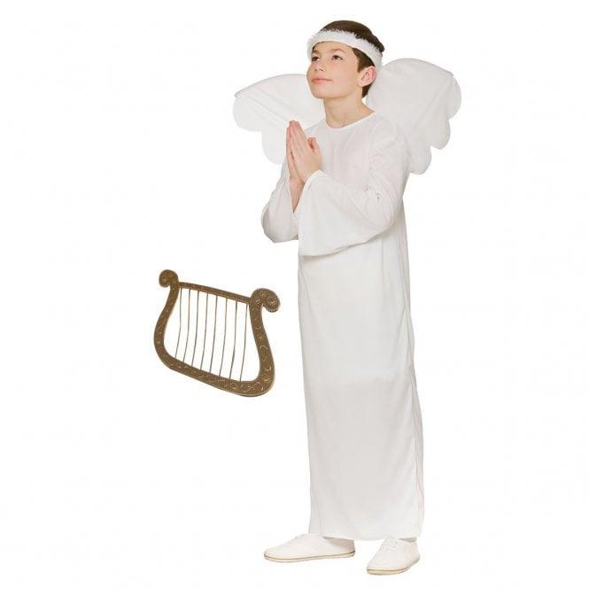 Boys Nativity Angel - Kids Costume Set (Costume, Gold Harp)
