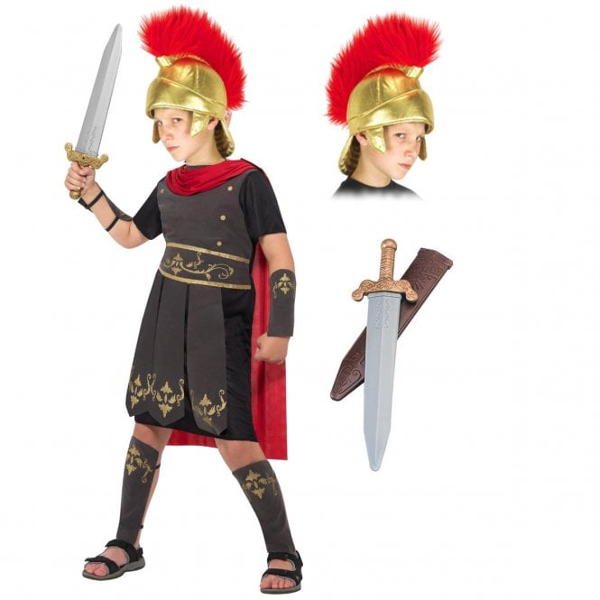 Roman Soldier - Kids Costume Set (Costume, Fabric Helmet, Sword)