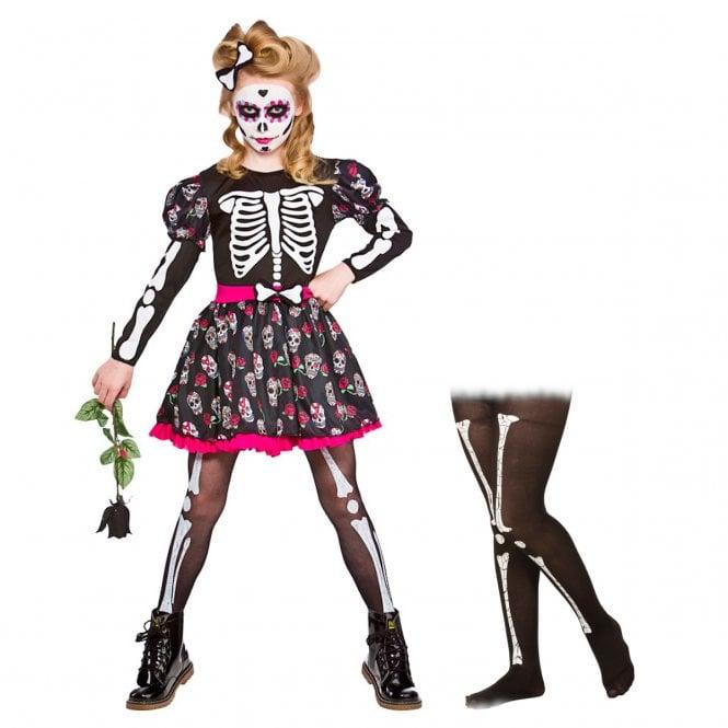 Skull Of the Dead - Kids Costume Set 3 (Dress, Hairclip, Skeleton Tights) *NOT ACTIVE*