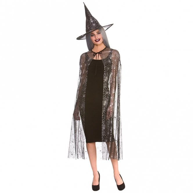 Shimmering Spider Web Witch Cape & Hat (125cm) - Adult Accessory