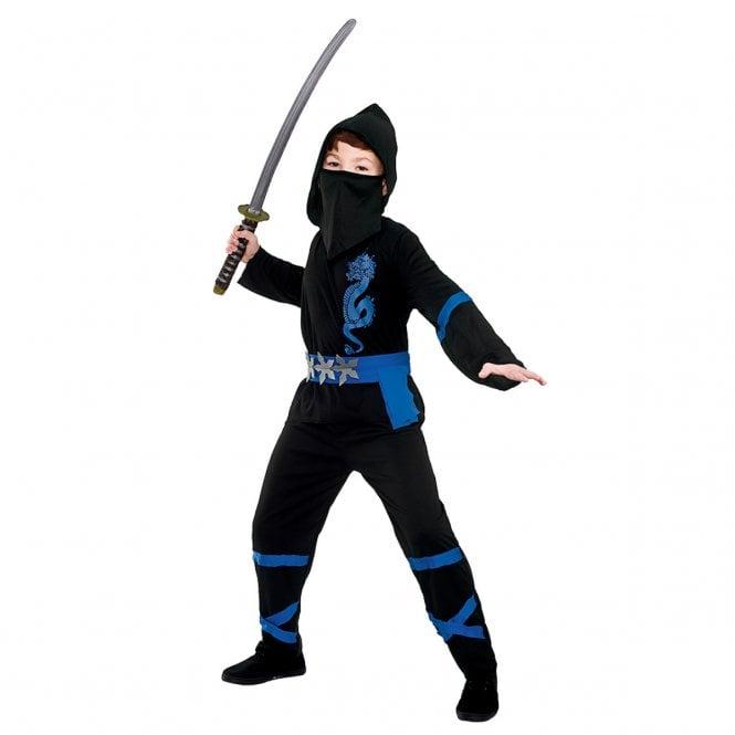 New Power Ninja (Black/Blue) - Kids Costume