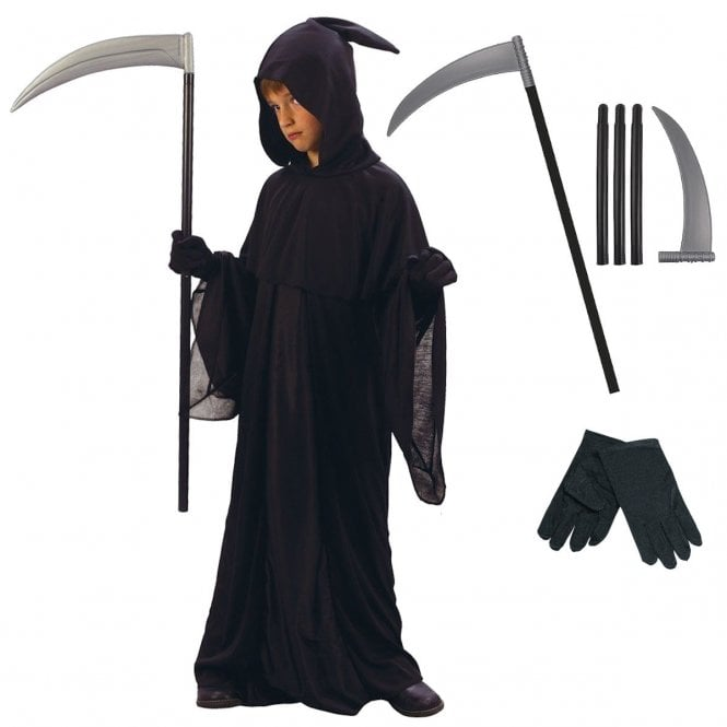 Grim Reaper - Kids Costume Set (Robe, Hood, Black Gloves, Scythe)