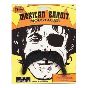 Mexican Bandit Black Moustache - Adult Accessory