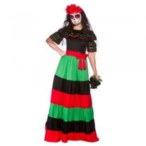 Day Of The Dead Senorita (Long Length) - Adult Costume