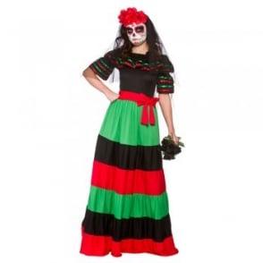Day Of The Dead Senorita (Long Length) - Adult Costume (Dress, Belt)