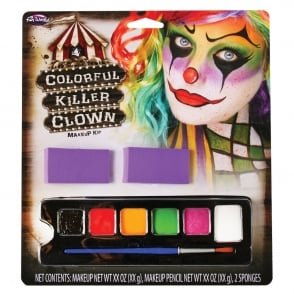 Colourful Killer Clown Make Up Kit - Costume Accessory