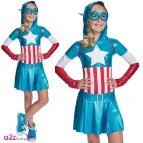 ~ Captain America (Hoodie Dress) - Kids Costume