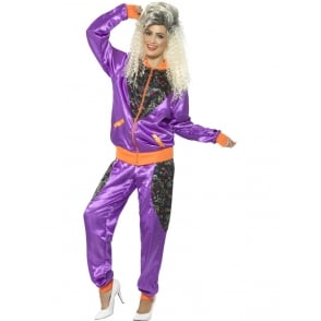 80's Retro Shell Suit (Purple) - Adult Ladies Costume