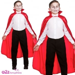 Red Deluxe Satin Cape with Collar - Kids Accessory