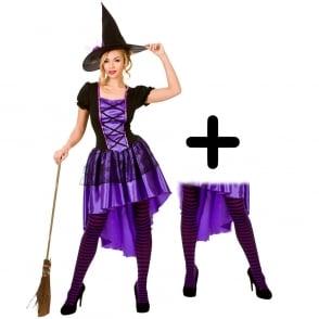 Purple Glamorous Witch - Adult Costume Set (Dress, Hat, Purple & Black Striped Tights)