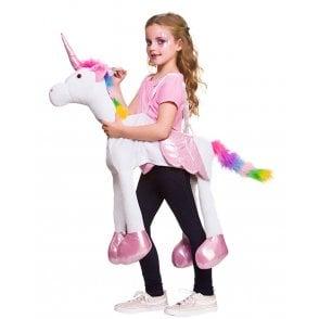 White Ride On Fantasy Rainbow Unicorn - Kids Costume