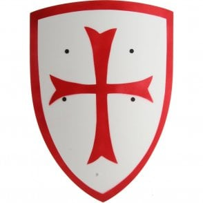 Red Crusader Knight Wooden Shield (Small) - Accessory