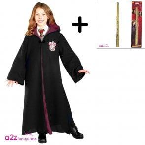 ~ Hermione Granger Deluxe Gryffindor Robe - Costume Set (Robe, Standard Hermione Wand)