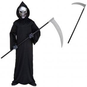 Holographic Grim Reaper - Kids Costume Set (Robe, Mask, Gloves, Scythe)