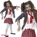 Zombie School Girl - Kids Costume Set (Costume.Tights)