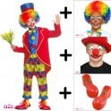 Circus Clown - Kids Costume Set (Costume, Wig, Nose & Facepaint, Shoes) *NOT ACTIVE*