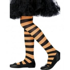 Orange & Black Striped Tights - Kids Accessory