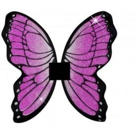 Glitter Butterfly Wings (Black/Cerise) - Accessory