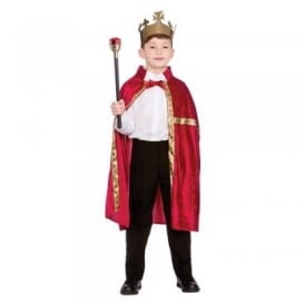 Deluxe King/Queen Robe (Burgundy) & Crown  - Kids Costume