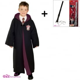 ~ Deluxe Gryffindor Robe - Harry Potter Costume Set (Robe, Wand & Glasses Kit)